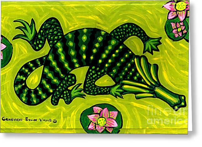 Green Alligator Greeting Card