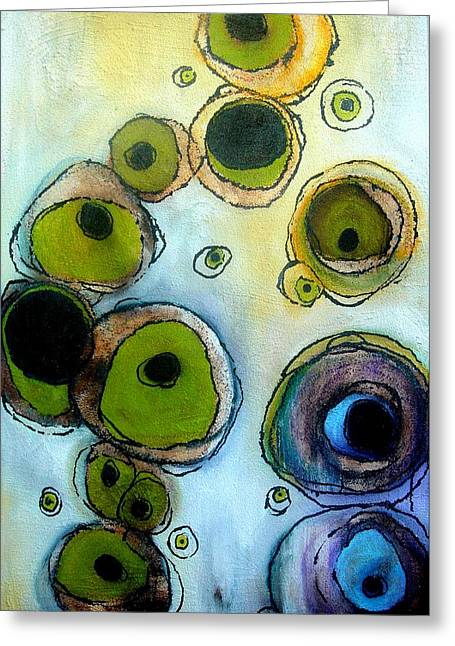 Green And Blue Greeting Card by Lizzie  Johnson