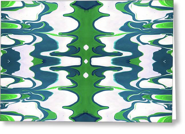 Green And Blue Swirl- Art By Linda Woods Greeting Card