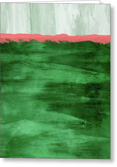 Green And Coral Landscape- Abstract Art By Linda Woods Greeting Card