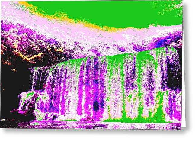 Green And Purple Waterfall Greeting Card by Erika Swartzkopf