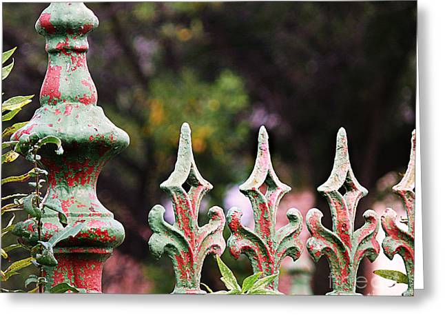 Green And Red Iron Fence Greeting Card