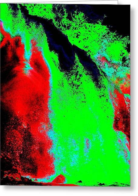 Green And Red Nightfall Greeting Card by Erika Swartzkopf