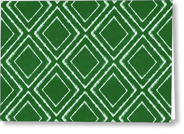 Green And White Inky Diamonds- Art By Linda Woods Greeting Card