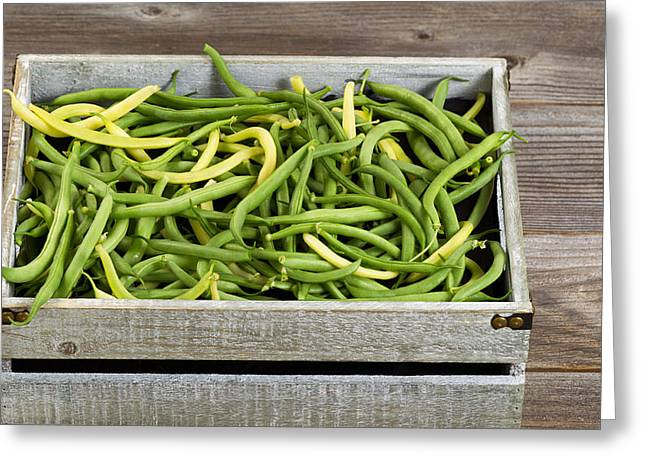 Green Beans Greeting Cards - Green and yellow beans in old crate on rustic wooden boards Greeting Card by Tom  Baker