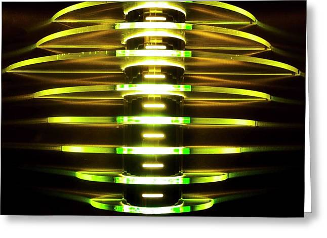 Green And Yellow Light Reflectors Greeting Card