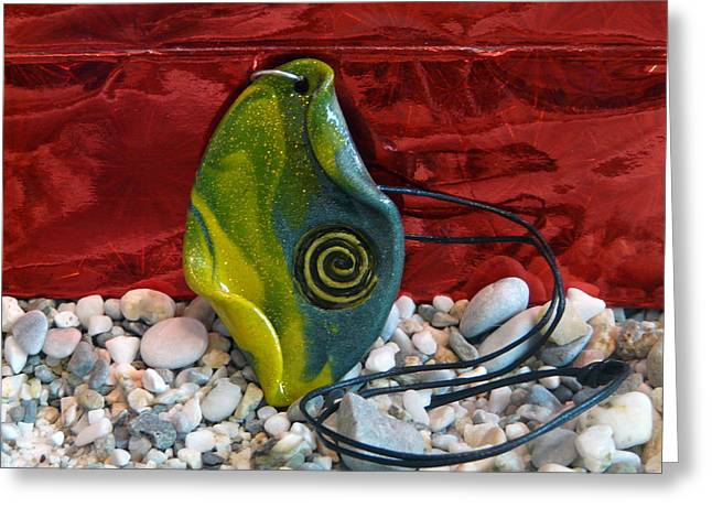 Acrylic Polymer Clay Greeting Cards - Green and Yellow Spiral Pendant Greeting Card by Chara Giakoumaki