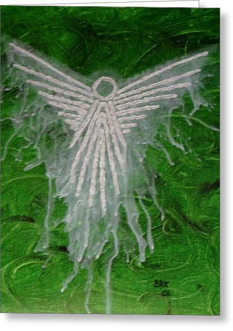 Green Angel Greeting Card by Bo Klinge
