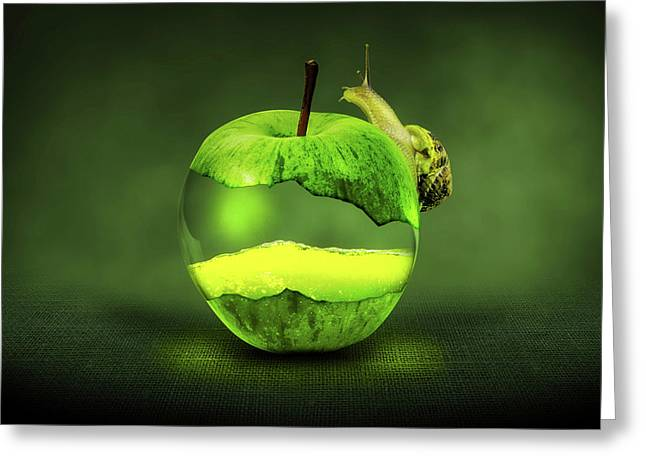 Green Apple And Snail Greeting Card