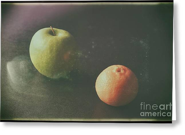 Green Apple And Tangerine Greeting Card by Jimmy Ostgard