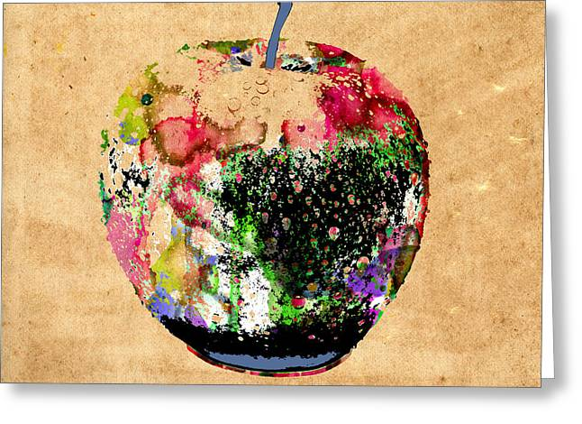 Green Apple Poster Print Greeting Card by Robert R Splashy Art Abstract Paintings
