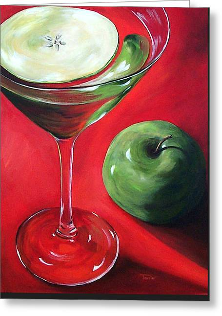 Green Apple Martini Greeting Card