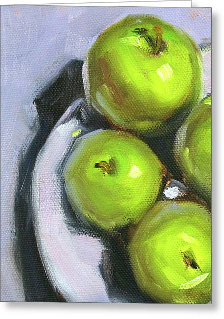 Green Apple Plate Greeting Card