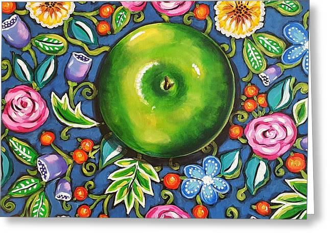 Green Apple Greeting Card by Sandra Lett