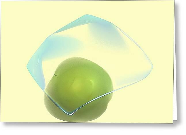 Green Apple  Greeting Card by Viktor Savchenko