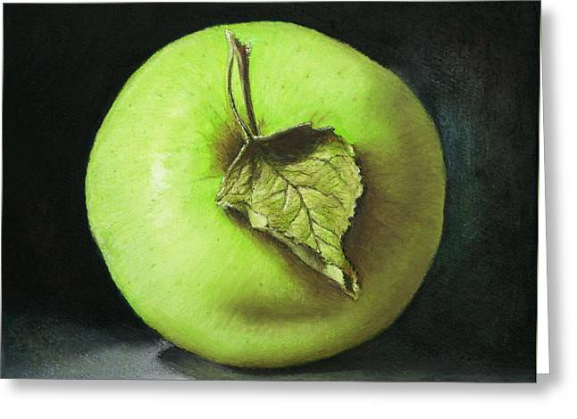 Green Apple With Leaf Greeting Card