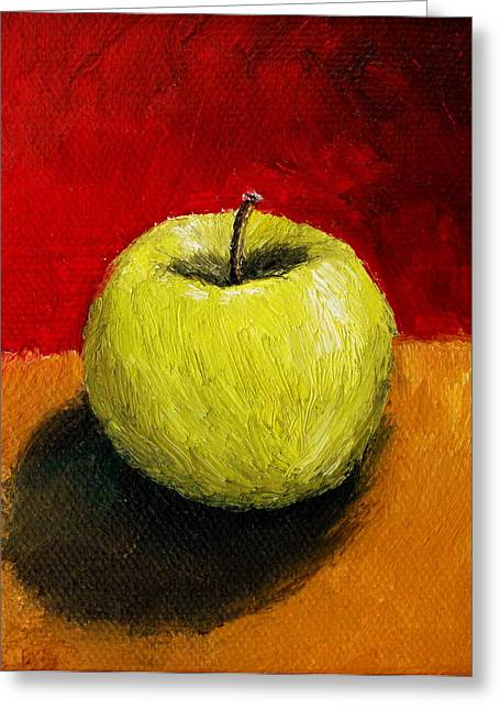 Green Apple With Red And Gold Greeting Card by Michelle Calkins