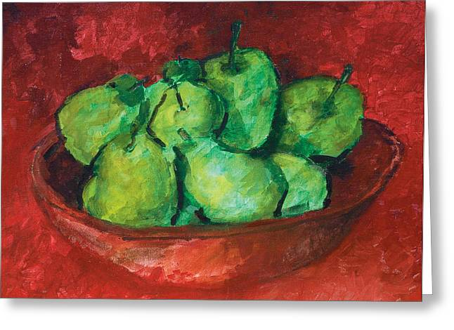 Interior Still Life Paintings Greeting Cards - Green Apples and Pears Greeting Card by Peggy Cooper