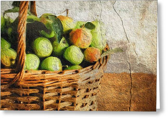 Green Apples In A Basket Greeting Card by Amy Cicconi