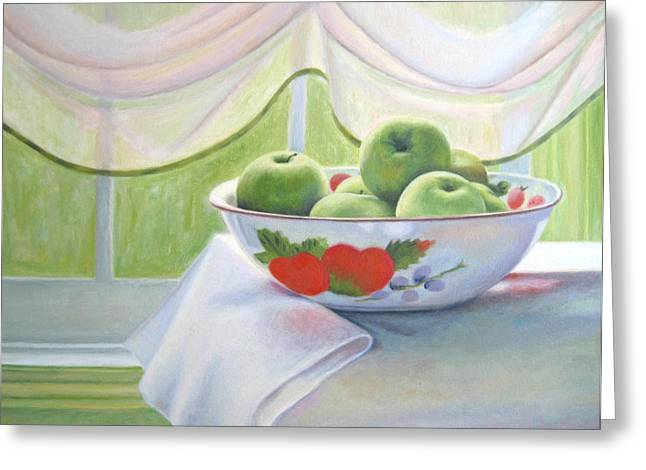 Still Life With Green Apples Greeting Cards - Green Apples Greeting Card by Jane  Simonson