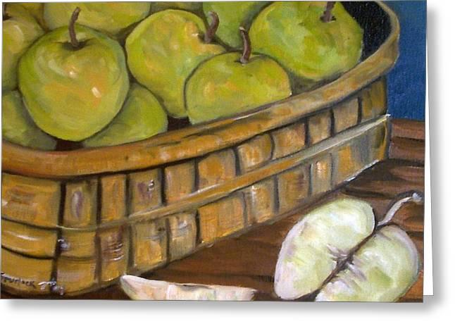 Green Apples Greeting Card by Leslie Spurlock