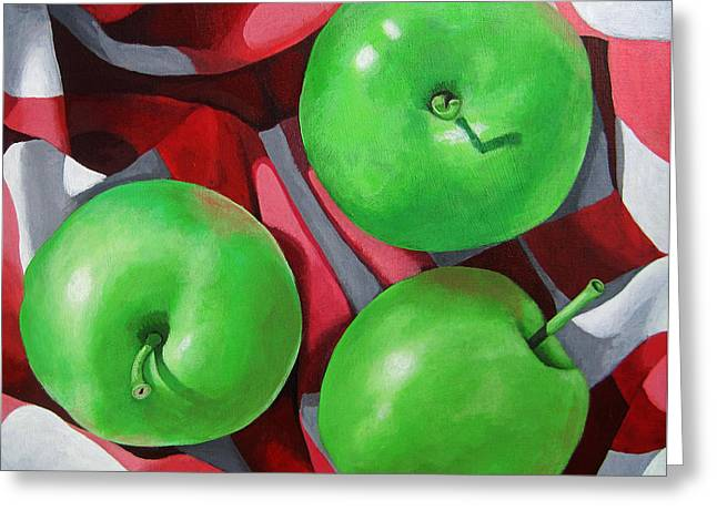 Green Apples Still Life Painting Greeting Card by Linda Apple
