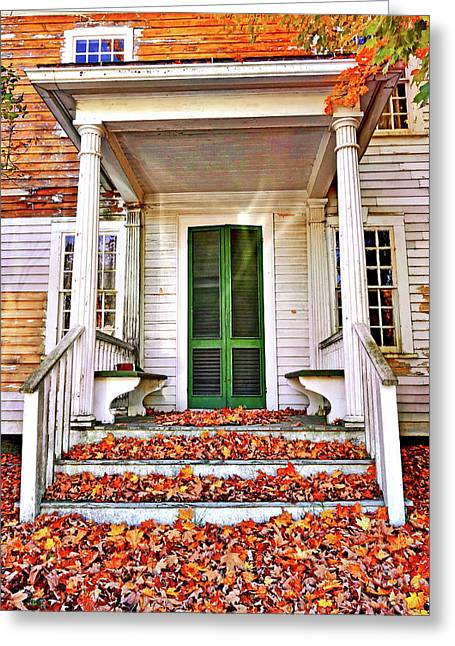 Green Autumn Door Greeting Card by Joan Reese