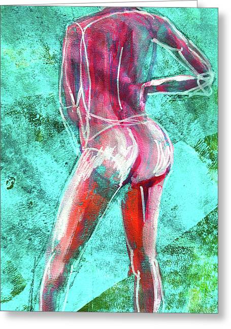 Greeting Card featuring the painting Green Back Figure No. 4 by Nancy Merkle
