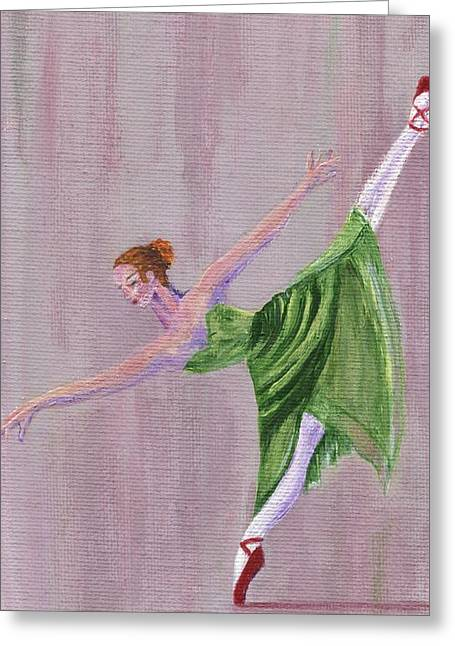 Greeting Card featuring the painting Green Ballerina by Jamie Frier