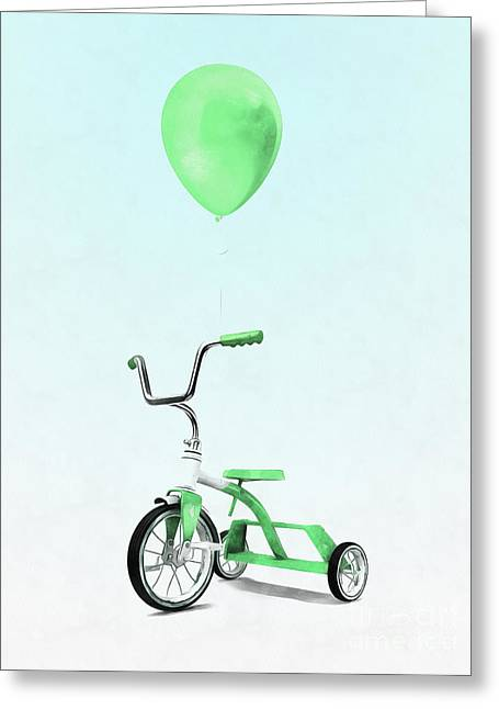 Green Balloon Green Tricycle Greeting Card