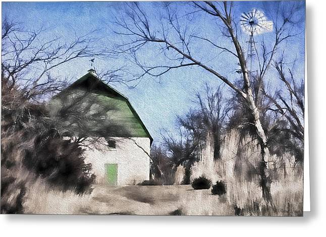 Green Barn Greeting Card