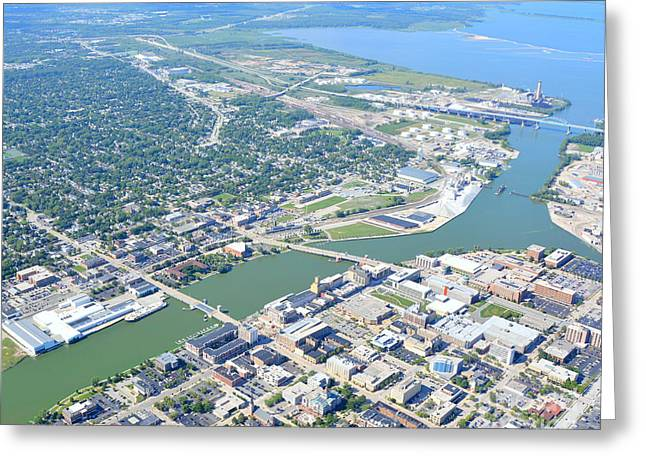 Green Bay Downtown Greeting Card by Bill Lang