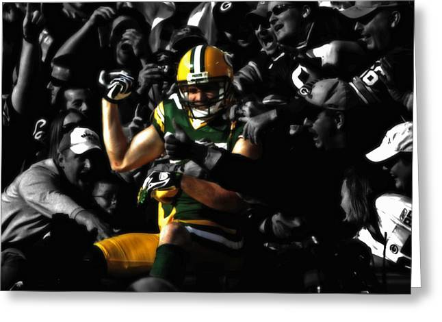 Jordy Nelson Lambeau Leap Greeting Card by Brian Reaves