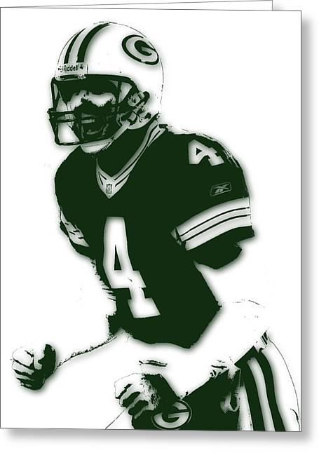 Green Bay Packers Bret Favre Greeting Card by Joe Hamilton