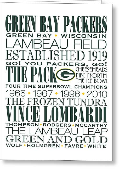 Green Bay Packers Subway Art Greeting Card by Marian Schumer