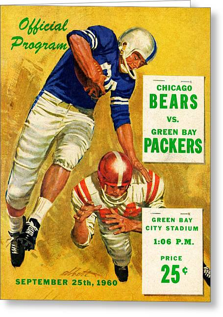 Green Bay Packers Vintage Program 2 Greeting Card by Joe Hamilton