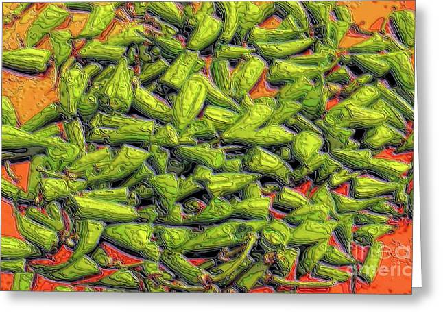Green Bean Greeting Cards - Green Bean Tiips Greeting Card by Ron Bissett