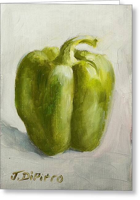 Green Bell Pepper Greeting Card by Joni Dipirro