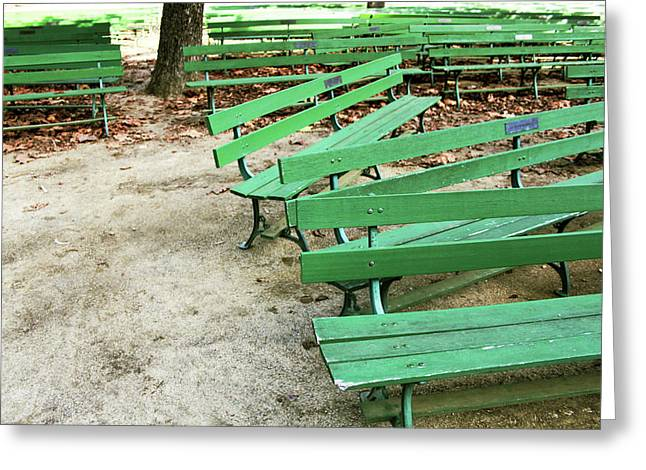 Green Benches- Fine Art Photo By Linda Woods Greeting Card by Linda Woods