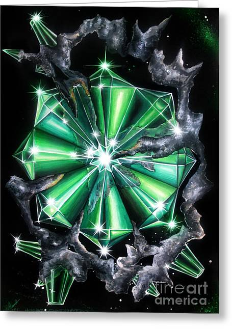 Green Beryl Crystals In Space Greeting Card
