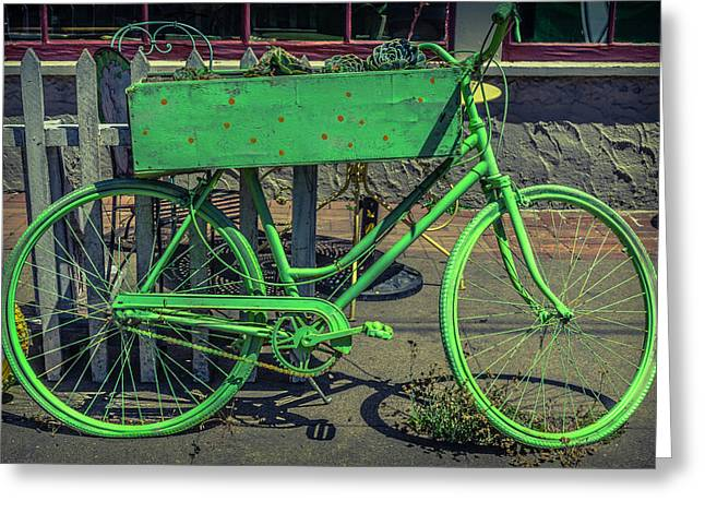 Green Bike Greeting Card