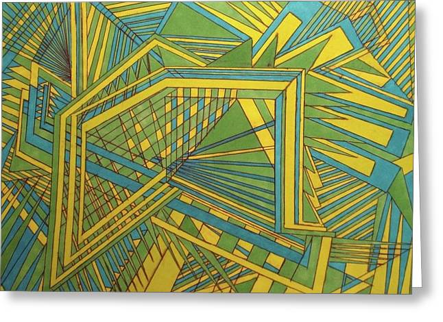 Green Blue Yellow Greeting Card by Modern Metro Patterns and Textiles