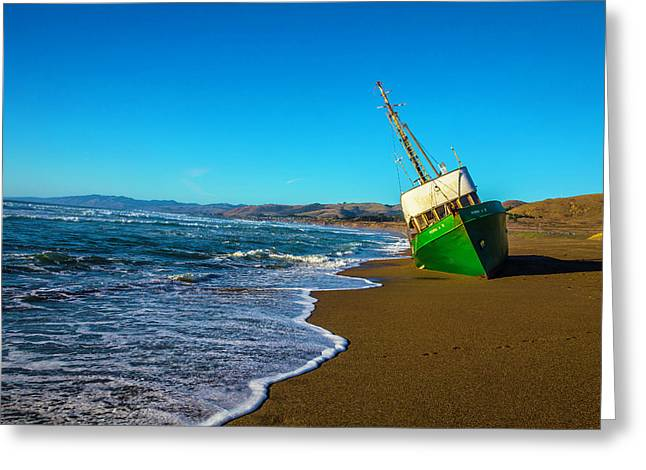 Green Boat At Low Tide Greeting Card