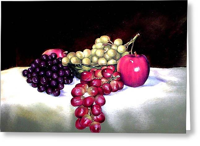 Green Bowl With Fruit Greeting Card by Mahto Hogue