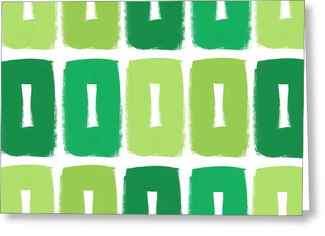 Green Boxes- Art By Linda Woods Greeting Card