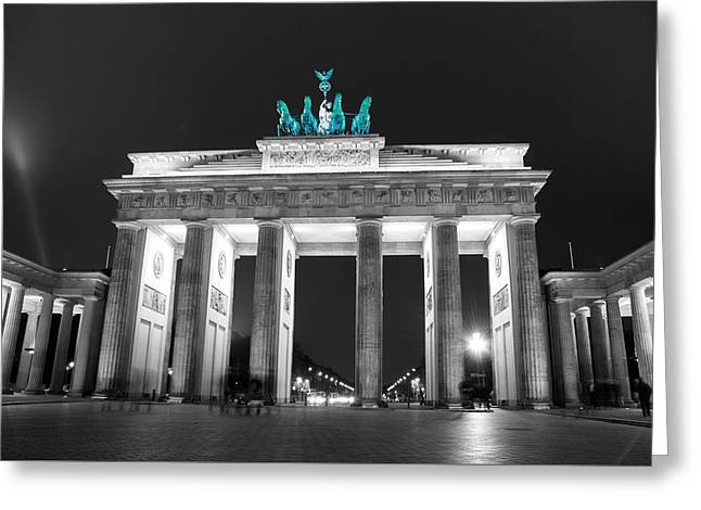 Green Brandenburg Gate Popped Greeting Card by Nathan Wright