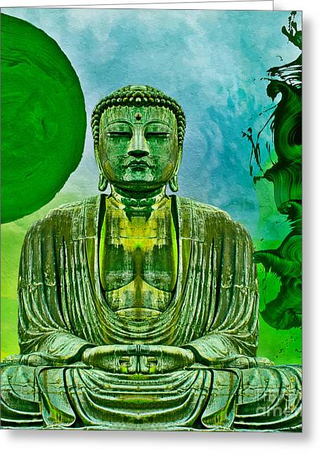 Greeting Card featuring the mixed media Green Buddha by Lita Kelley