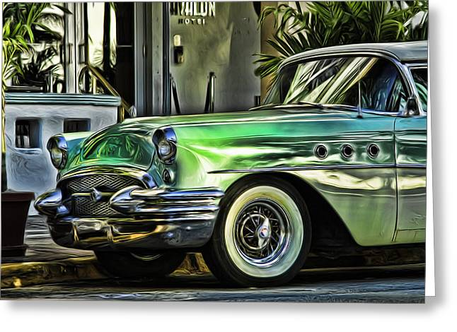 Green Buick Greeting Card