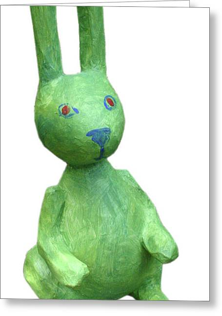 Green Bunny Greeting Card by Maria Rosa