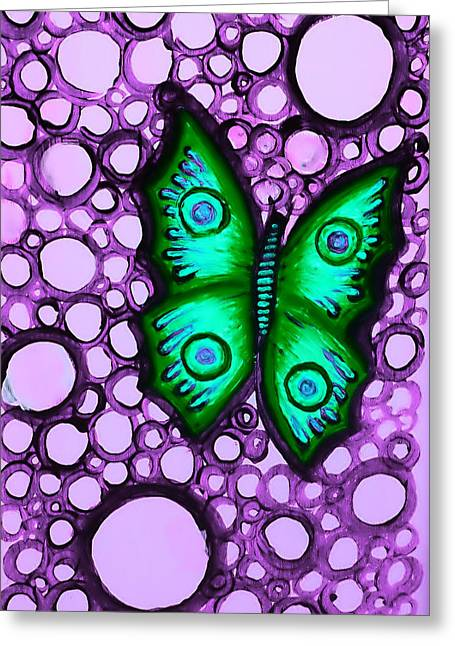 Green Butterfly II Greeting Card by Brenda Higginson